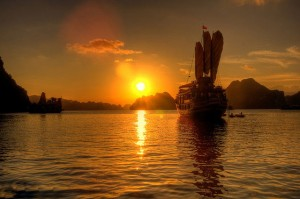 When Sunset Comes in Ha Long Bay