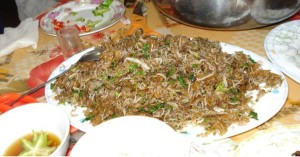 "Noodles Fried With ""Ngán"" (a species of Veneridae)"