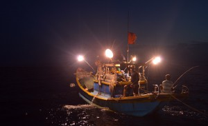 Night squid fishing on Halong Bay