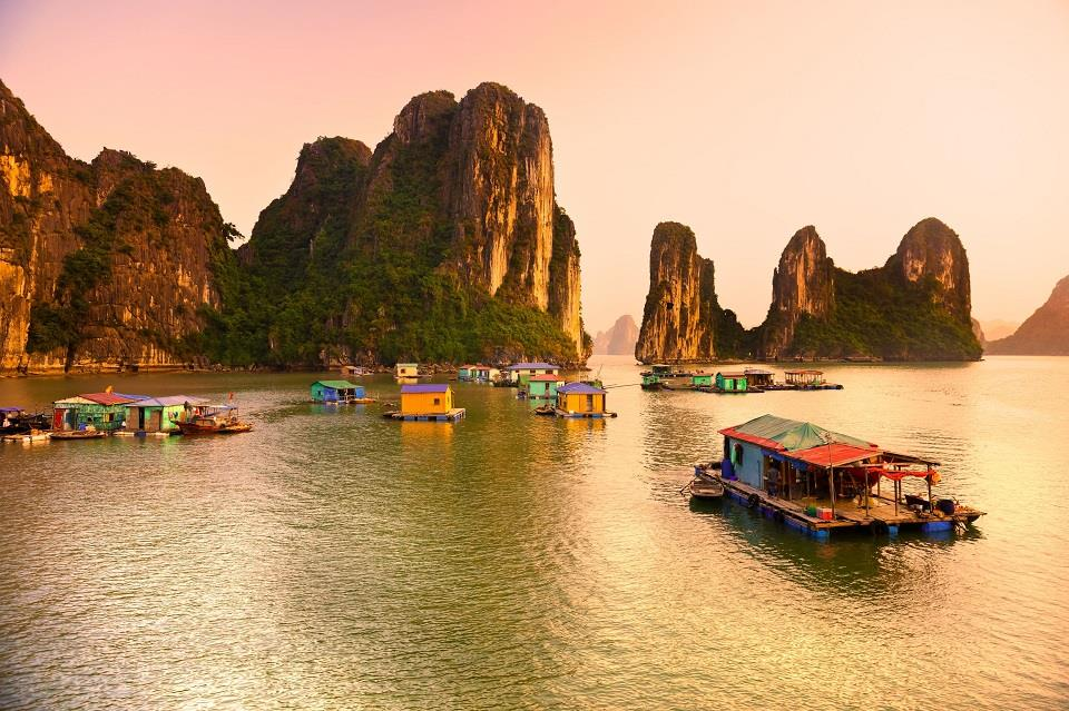 A floating village at dawn
