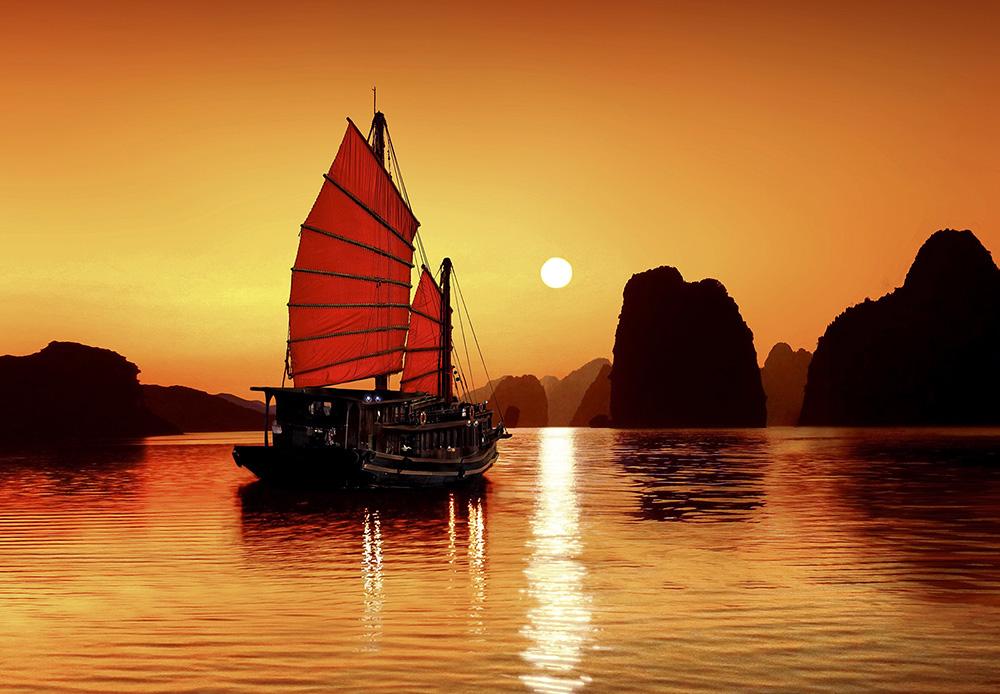 Romantic sunset on Halong Bay