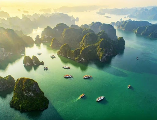 Spectacular mountains and emerald water of Halong Bay